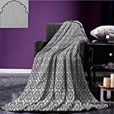 Moroccan summer blanket Arabian Art Background with a Group of Traditional Turkish Ottoman Forms Patterns Flannel Black White size:59''x35.5''