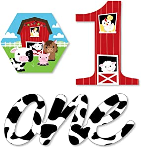 1st Birthday Farm Animals - DIY Shaped Barnyard First Birthday Party Cut-Outs - 24 Count