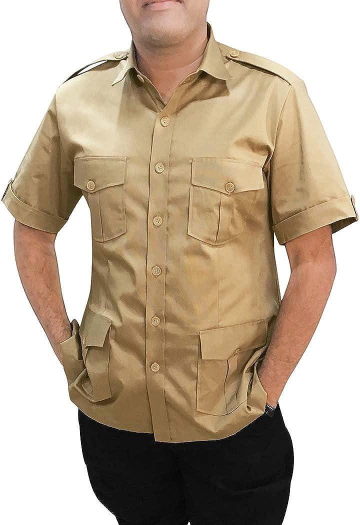 INMONARCH Khakhi Hombres algodón Camiseta Safari Media Manga HS117XX-LARGE XX-Large Caqui: INMONARCH: Amazon.es: Ropa y accesorios