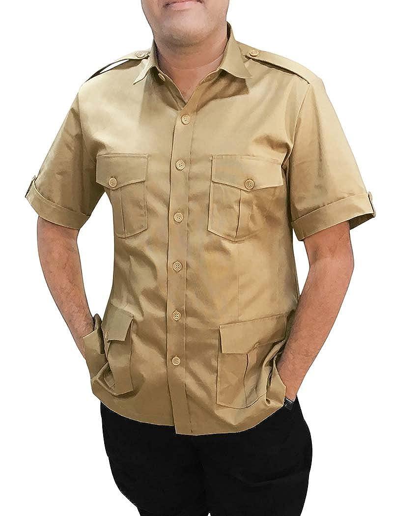 INMONARCH  Herren Khakhi Baumwolle Safari Shirt Half Arm HS117