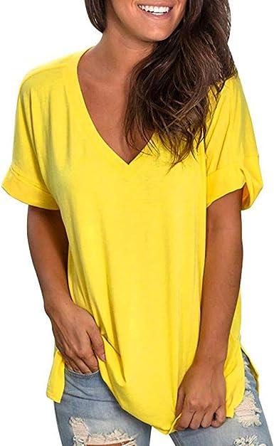 Mujer Camisetas Manga Corta Originales Camisetas Mujer Verano Camisetas Mujer Tallas Grandes Camisas Mujeres Verano V Cuello Manga Corta Camisa Casual Tunic Tops Blusa: Amazon.es: Ropa y accesorios
