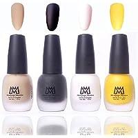 Makeup Mania Premium Nail Polish Velvet Matte Nail Paint Combo (Nude, Black, White, Yellow, Pack of 4)