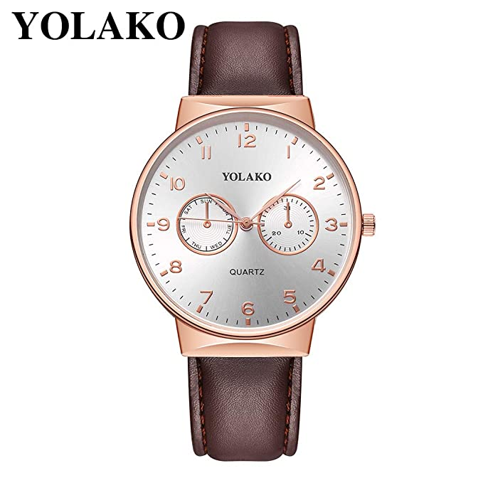 Amazon.com: Zalanala Mens Casual Quartz Leather Band Newv Strap Watch Business Analog Wrist Watch: Cell Phones & Accessories