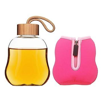 Life4u Botella de Agua para Deporte de Cristal con Tapón de Bambú, 360 ml