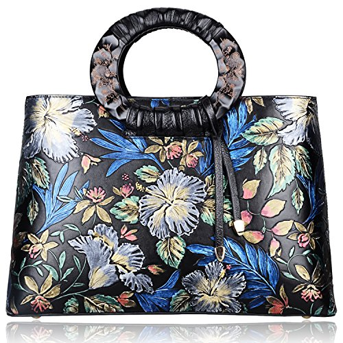 Pijushi Floral Handbags and Purses Designer Leather Tote Handbag for Women Top Handle 6016(One Size, Black Floral) by PIJUSHI