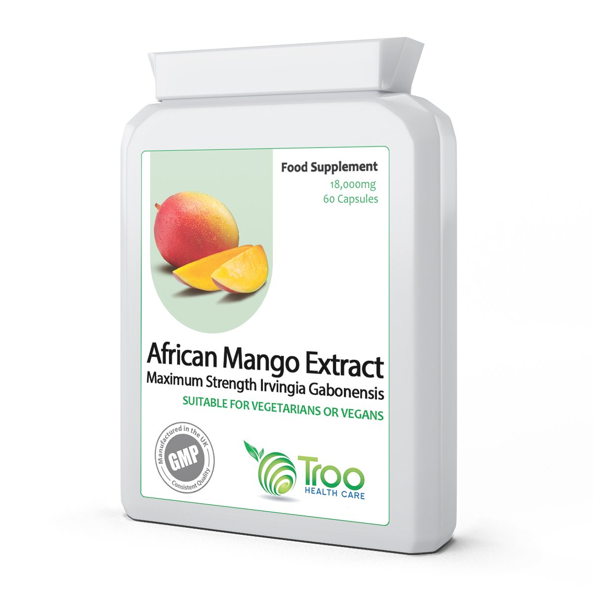 Pure African Mango 18000mg 60 Capsules - SUPER STRENGTH Extract to Support Weight Loss, Slimming & Diet & to Support Healthy Cholesterol Balance. High in Dietary Fibre.