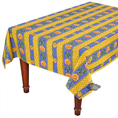 60x96'' Rectangular Sunflower Blue Cotton Coated Provence Tablecloth by Le Cluny by Le Cluny French Linens