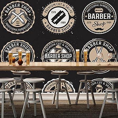 Zljtyn 370cmx245cm 3d Modern Wallpaper Barber Shop Round Badge