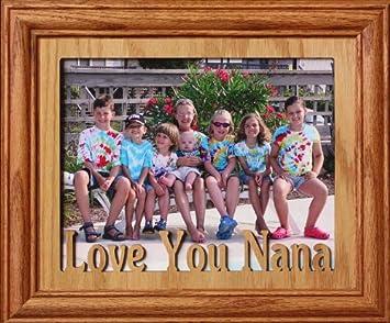 8x10 love you nana landscape photo laser name frame fruitwood stained frame gift for - Nana Frame