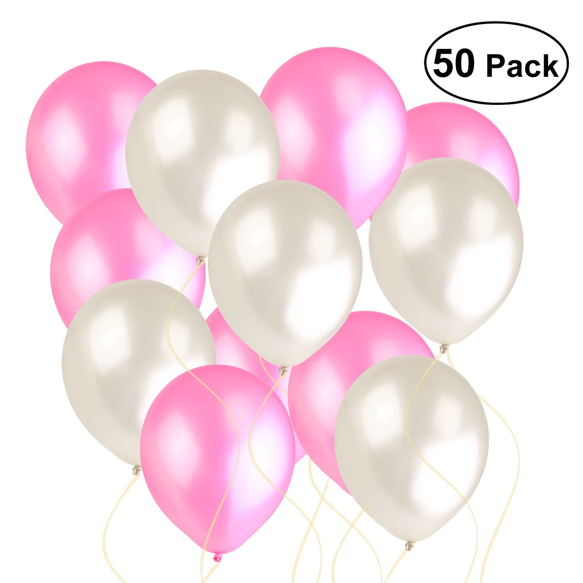NUOLUX 50pcs Pearly Lustre Balloon Decoration for Wedding Birthday Party Toy for Kids Fun (White Pink)