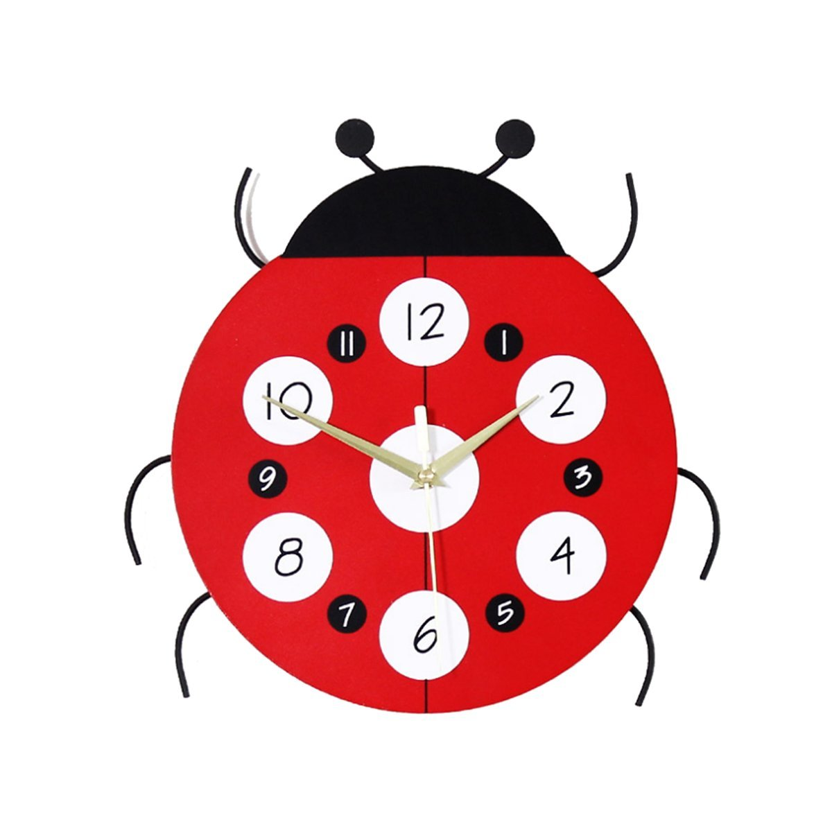 Cute Cartoon Insect Home Decor Analog Quartz Wood Wall Clock for Kids Bedroom-12 Inch Enjoy Best Time