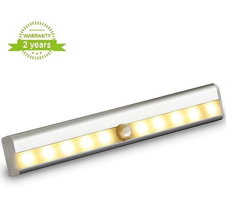Armario luces 10 LED funciona con pilas Sensor de movimiento lámpara portátil con tira magnética,