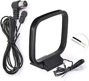Bingfu FM Antena de Radio Adaptador F Macho con 1.5M 4.92ft Cable de Extensión y Adaptador 2 Alambre Desnudo Am Bucle Antena para Oenon Panasonic ...
