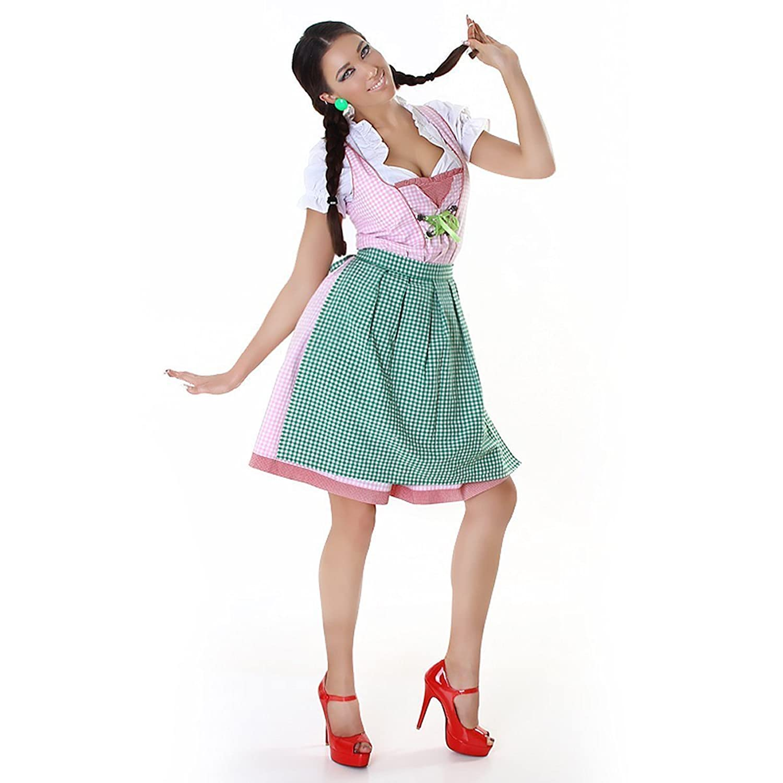 Komplettes Oktoberfest-Outfit: Dirndl, Bluse, Uni-Schürze