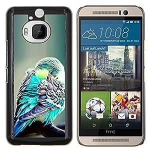 Oiseau Vert Exotique Plume Vert Tropical - Metal de aluminio y de plástico duro Caja del teléfono - Negro - HTC One M9+ / M9 Plus (Not M9)