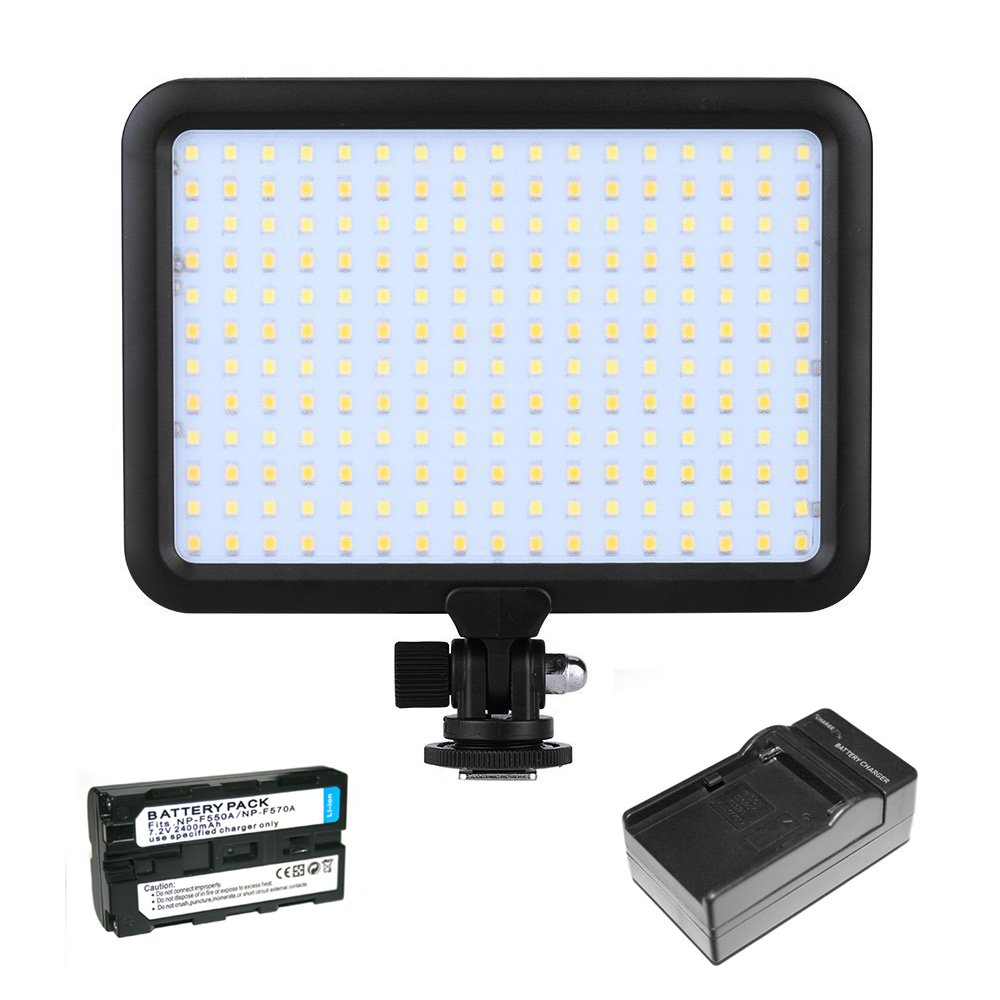 Triopo 204 LED Photography Video Studio Light Panel 3200K-5600K With Rechargeable Battery and Charger for DSLR Video Camera Camcorder (Canon, Nikon, Panasonic, Sony, Samsung, Olympus)