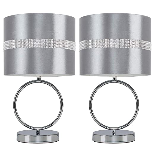Modern Chrome Diamante Shade Touch Bedside and Lounge Table Lights Lamps LED