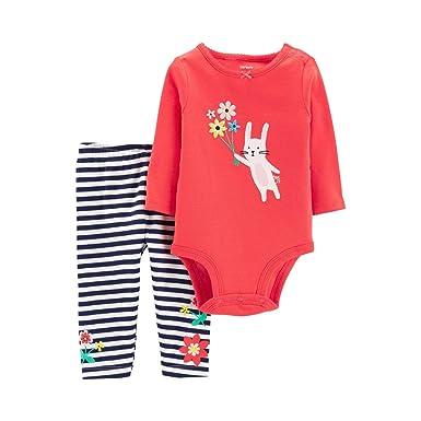 9a0bbe4dea7ce Amazon.com: Carter's Baby Girls' 2 Piece Bodysuit and Pants Set : Clothing