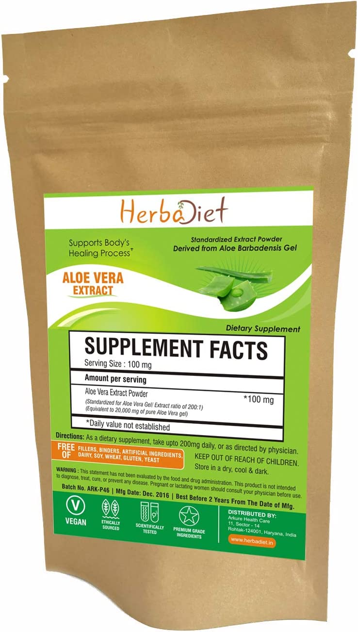 Aloe Vera 200:1 Extract Powder | Natural Herbal Digestive Health, Detox, Digestion Support, Anti-Inflammatory Supplement | Non-GMO, Gluten Free (100 Gram)