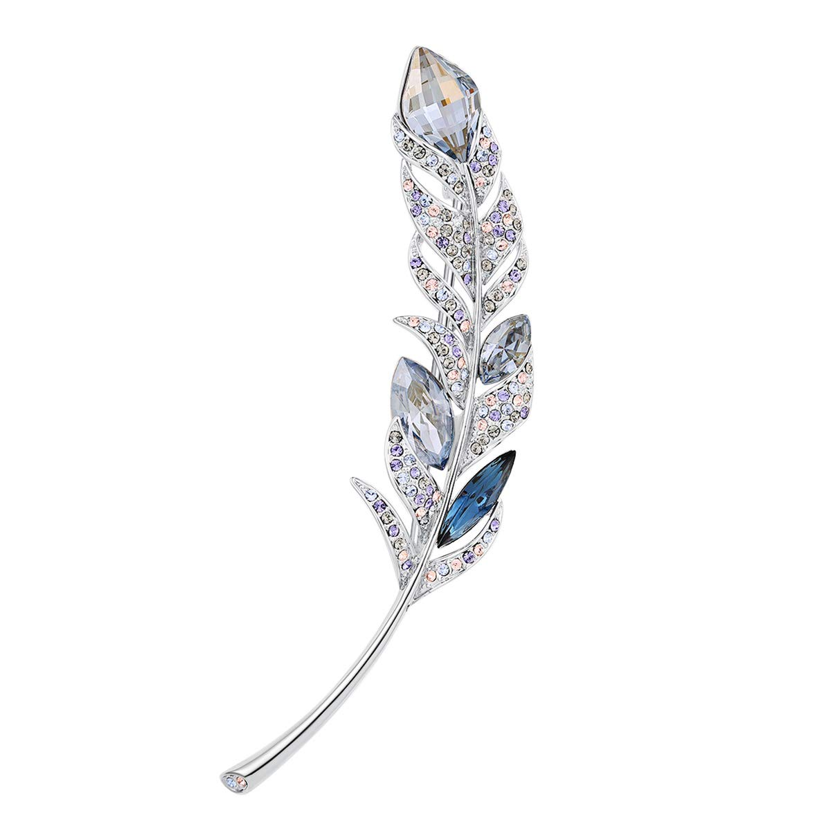 RAINBOW BOX Brooches for Women Fashion,Blue Feather Rhinestone with Swarovski Crystal Jewelry Women's Brooches & Pins