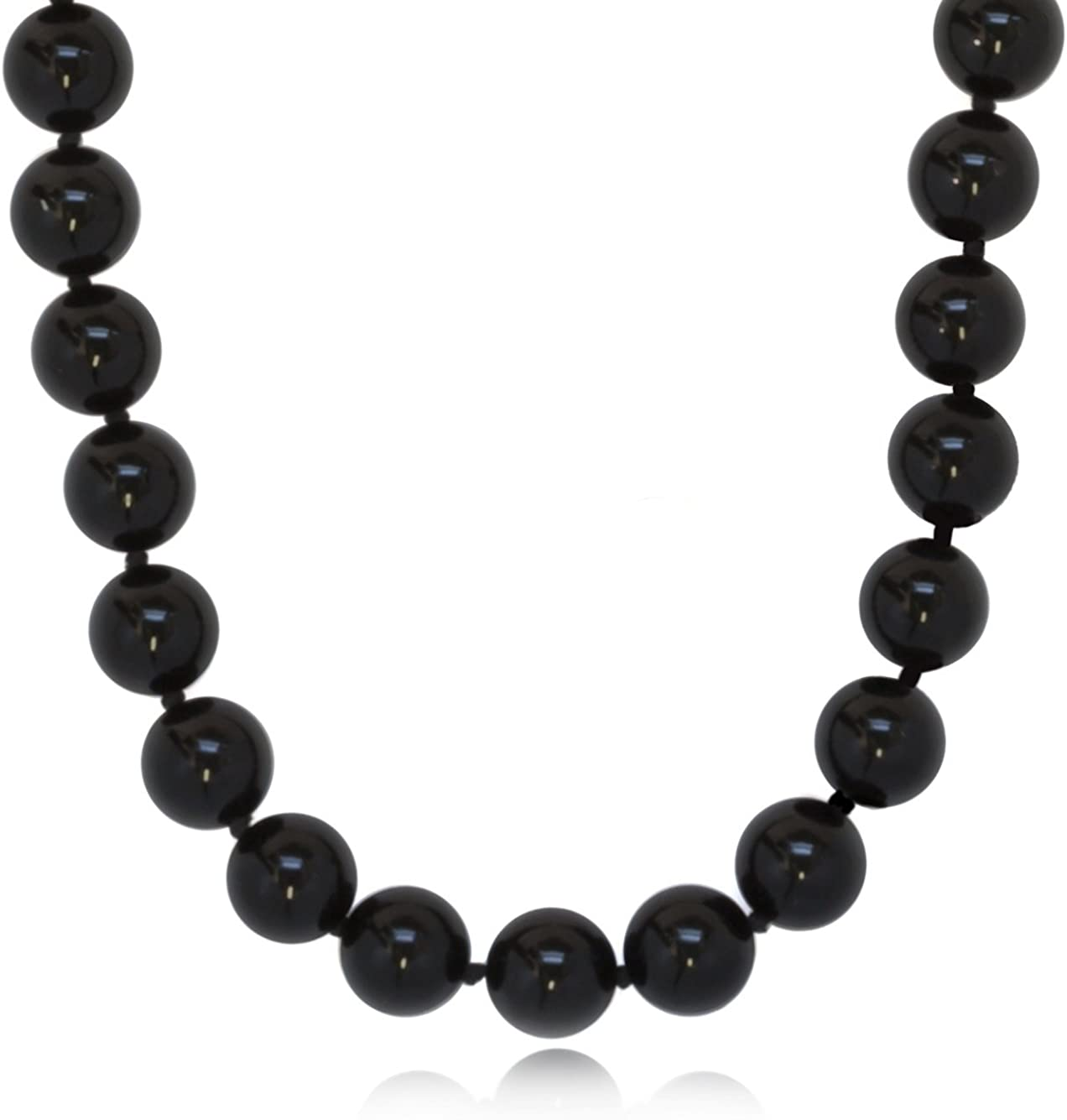 Clasp is a Silver Hook 19.5 inch Silver Wire Wrapped Onyx Bead Necklace with a 3 inch Silver and Onyx Pendent