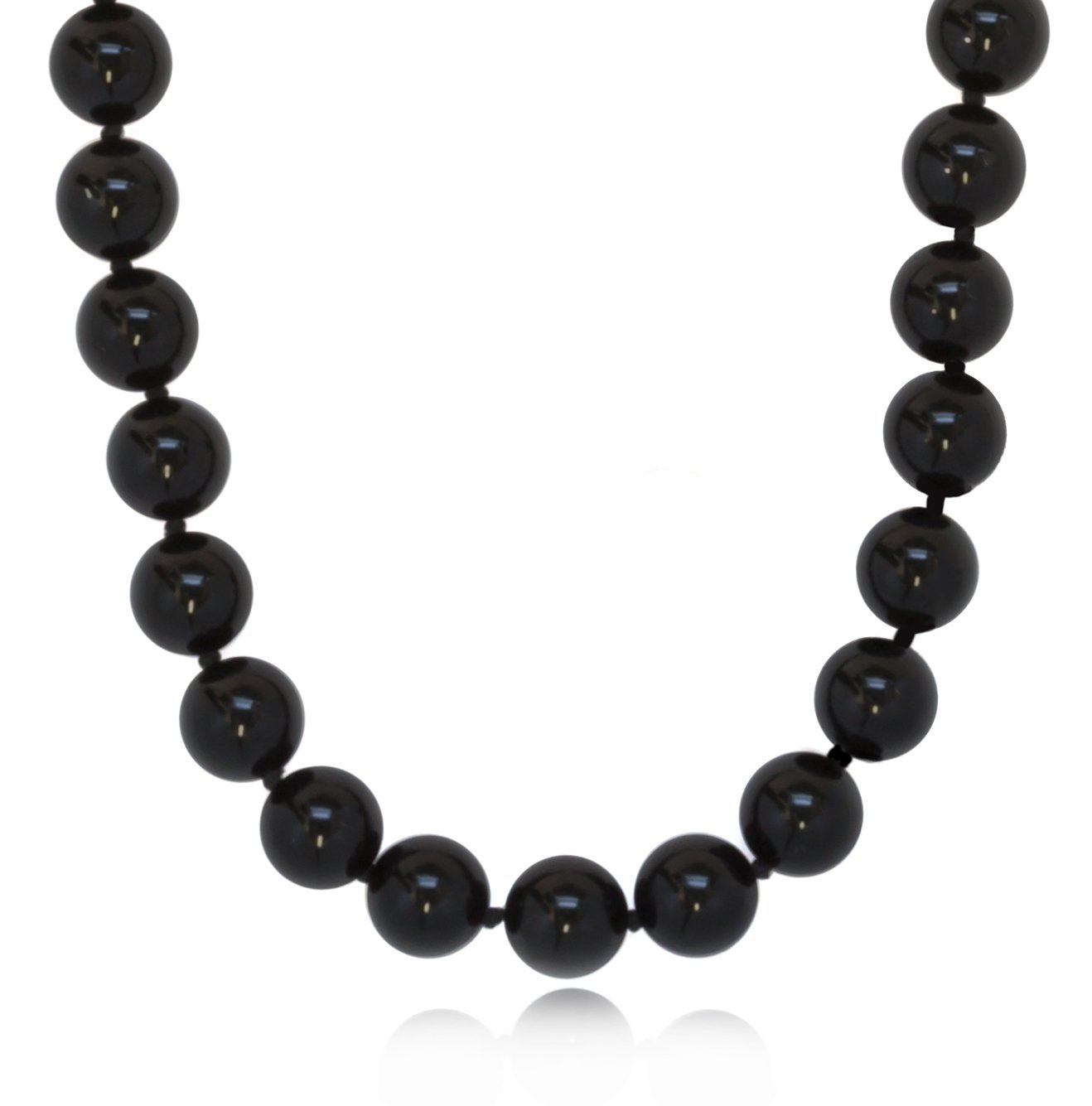ISAAC WESTMAN 8mm Polished Black Onyx Necklace | .925 Sterling Silver (18)