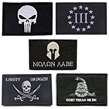Mixed Tactical Velcro Patch, TOWEE 5 Pack Punisher/ Three Pencete/ Molon Labe/ Pirate/ Dont Trend On Me Tactical Tag Patch Embroidered Border Military Patch Punishers Emblem Morale Velcro Patches
