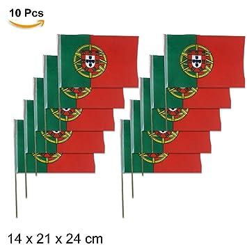 TD Bandera Portugal de Mano Mango de bambú, tamaño 21 X 14 X 25 CM