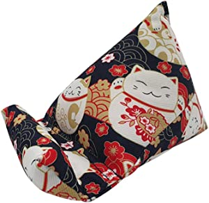 Barbee Japanese Wedge Cat Phone Office Stand - Mobile Switch Phone Device Holder Pillow Cushion Cradle Accessories Compatible with iPhone 11 Pro Xs Max Plus, All Android Smartphones (Blue Lucky Cat)