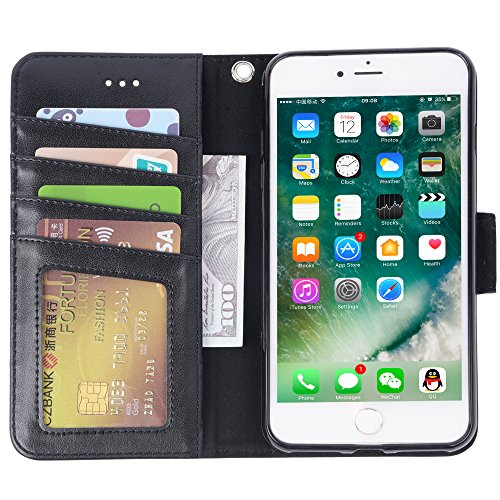 iphone 7 plus case, iPhone 8 plus case, Arae PU leather wallet Case with Kickstand and Flip Cover for iPhone 7 plus (2016)/iPhone 8 plus (2017) - Black by Arae (Image #3)