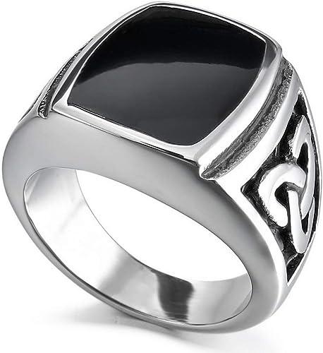 Men/'s Sterling Silver Black Enamel Celtic Design Ring