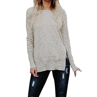 8742d7162c4 Sweat-shirt Femme Fille Chic Longra Manche longue Chandail Pull Loose Tops  Tricots Tricoté Pull