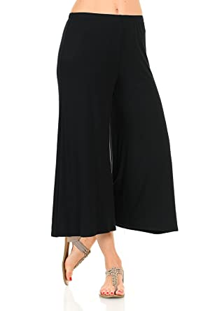 be9f456066a8 iconic luxe Women's Elastic Waist Jersey Culottes Pants at Amazon ...