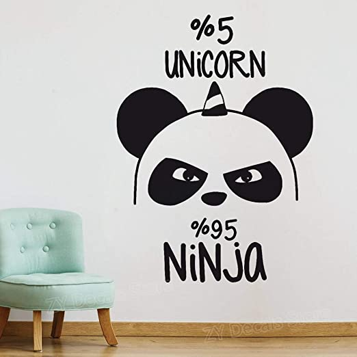 pegatina de pared 3d Funny Panda Bear Ninja Nursery ...