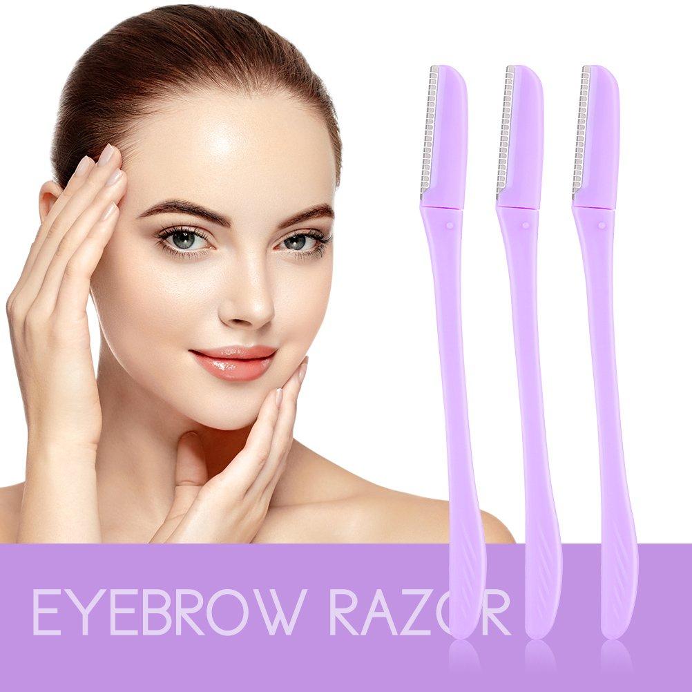 3 Pieces Eyebrow Shaper Razor Cheek Facial Razor Women Peach Fuzz