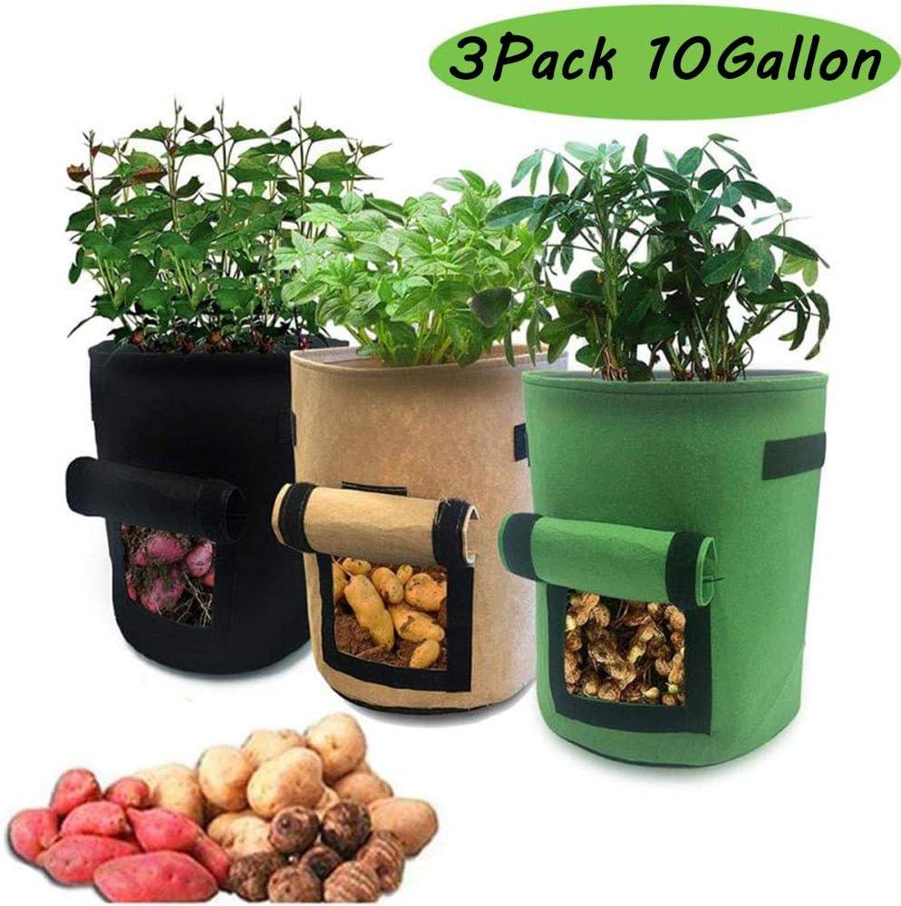MEISHANG 10 Gallon Contenitore Patate,Piantapatate Sacchi di Tessuto Non Tessuto,Sacchetto per Piantare Patate,Sacchetti per Coltivazione di Patate Borsa per Piante