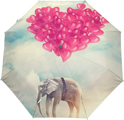 Design With Elephant Pattern Windproof Rainproof Automatic Foldable Umbrella,Travel Umbrella Compact Sun//Rain Hot-selling