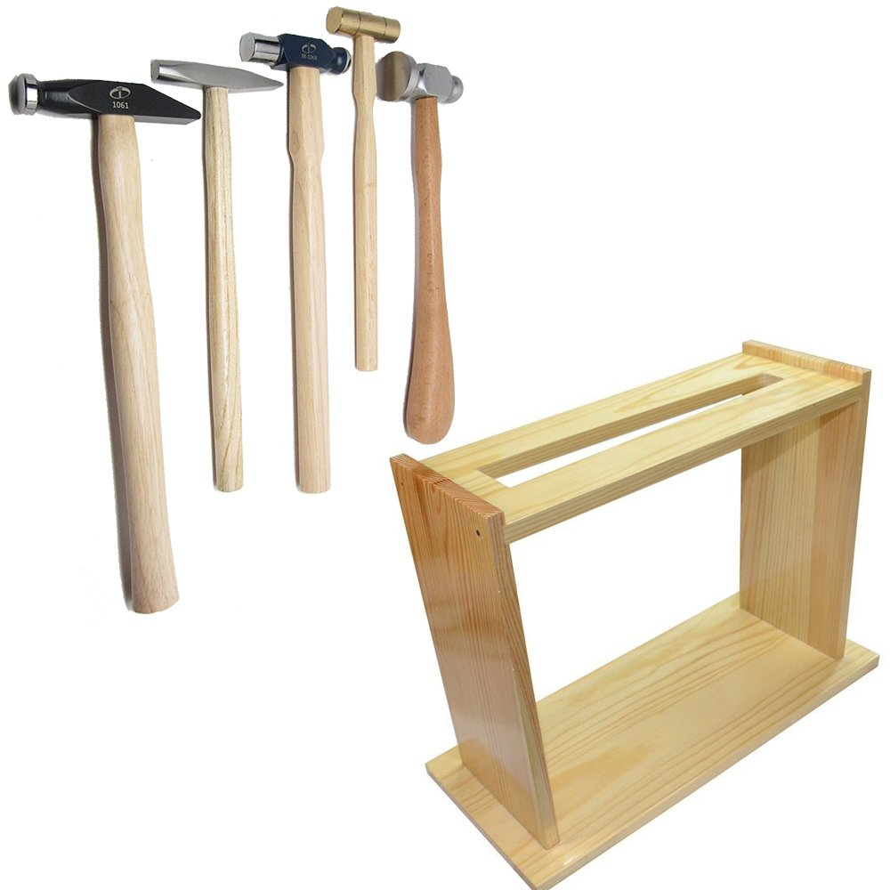 5 Chasing Ball Peen Brass Riveting Silversmith Goldsmith Blacksmith Hammers with Wood Hammer Stand - Gunsmiths, Jewelers, Craft Hammers