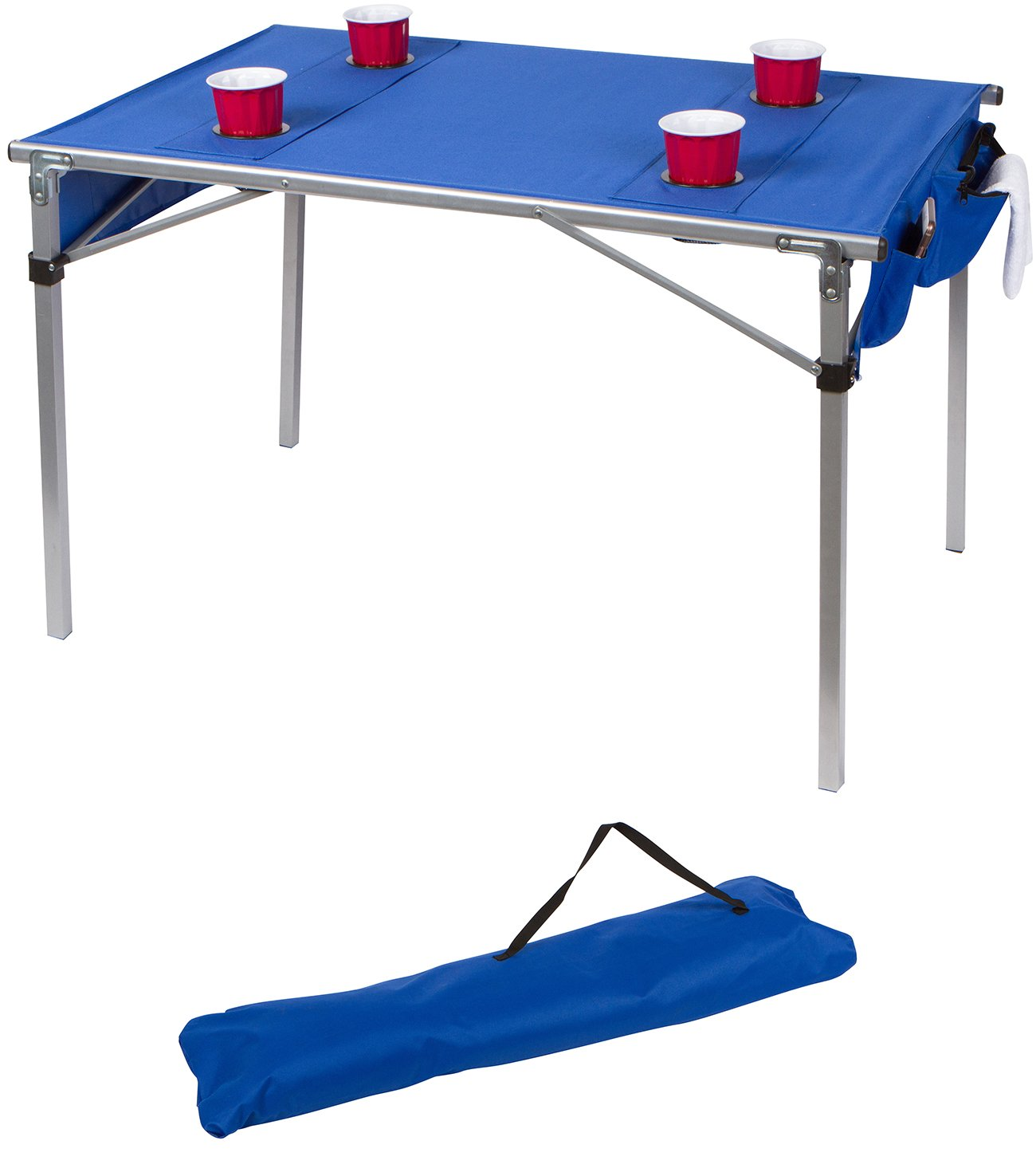 42'' Portable Lightweight Soft Top Folding Table For Camping and Travel With Carry Bag by Trademark Innovations (Blue)