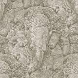 Rasch Stone Ganesh Photographic Pattern Wallpaper Realistic Faux Effect Elephant (Beige 525519)
