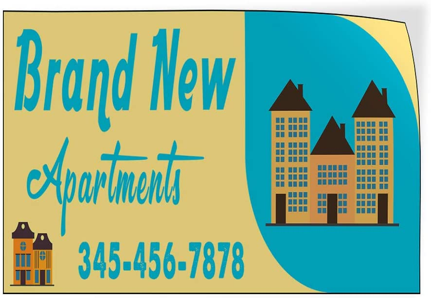 Custom Door Decals Vinyl Stickers Multiple Sizes Brand New Apartments Phone Number Business Brand New Apartment Outdoor Luggage /& Bumper Stickers for Cars Yellow 24X18Inches Set of 10