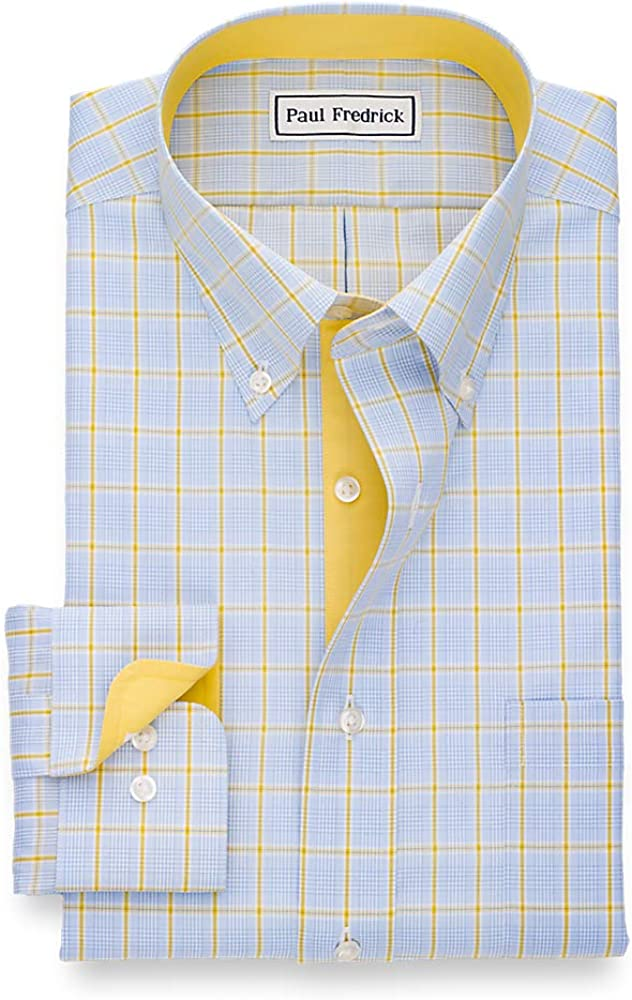 Paul Fredrick Mens Tailored Fit Non-Iron Cotton Plaid Button Down Dress Shirt