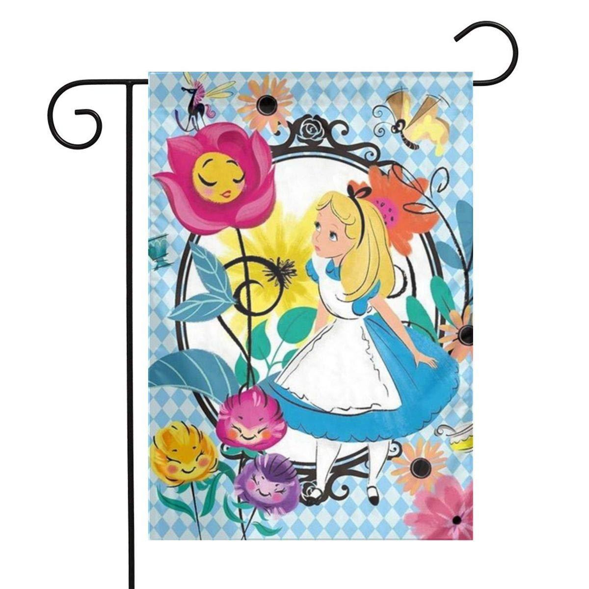QIEARA Alice in Wonderland Garden Flag Home Outdoor/Indoor Yard Flag 12 X 18 Inch