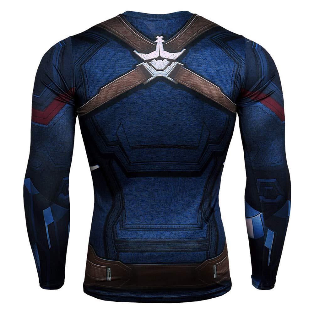 Long Sleeve Captain America Dri Fit Shirt Slim Compression Top Shirt