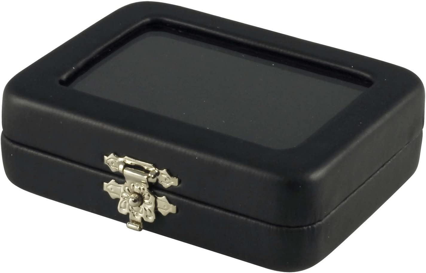 Novel Box Black Leatherette Glass Top Gem Box Loose Stone Jewelry Case Display with ClaspReversible Pad - White & Black