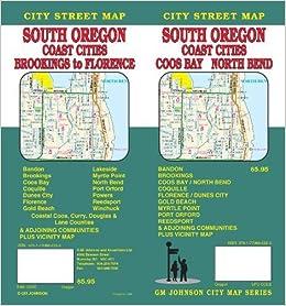 South Oregon Coast Cities Street MapCoos BayNorth BendBrookings