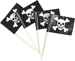 JBCD 100 Pcs Pirate Jolly Roger Flag Toothpicks Pirate Skull Flags Cupcake Toppers Decorations, Cocktail Toothpick Flag Cake Topper Picks Mini Small Flag Cupcake Pick Sticks