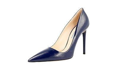 f3b49d4898b Prada Women s 1I221F Blue Saffiano Leather Pumps Heels EU 39 ...