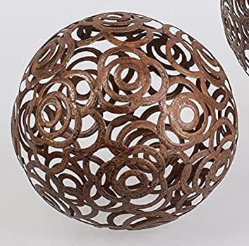 Formano Decorative Garden Light Ball Ornament Rustic Metal Sphere Rose 18 Cm