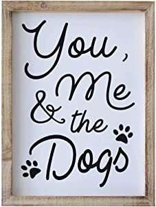 SANY DAYO HOME Rustic Wood Framed Home Signs 12 X 16 inch Hanging Farmhouse Wall Art Décor Home, Kitchen, Bathroom - You, Me and The Dogs